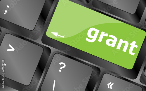Fotografering  Computer keyboard button with grant button