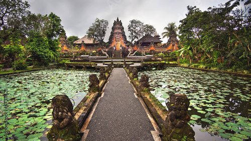Tuinposter Bali Lotus Pond and Pura Saraswati Temple in Ubud, Bali, Indonesia