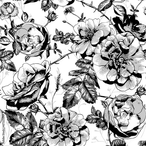 Black and White Floral Seamless Background