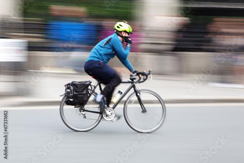 In de dag Fietsen Radfahrer in Bewegungsunschärfe