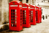 antik texturiertes Bild roter Telefonzellen in London - 67331817