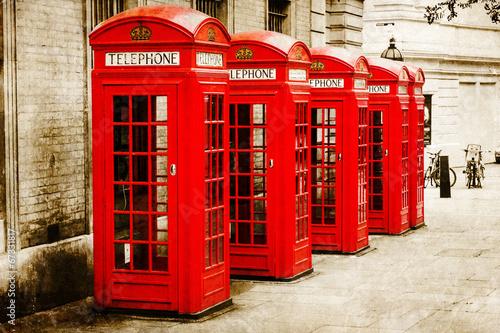 Foto op Canvas Londen antik texturiertes Bild roter Telefonzellen in London