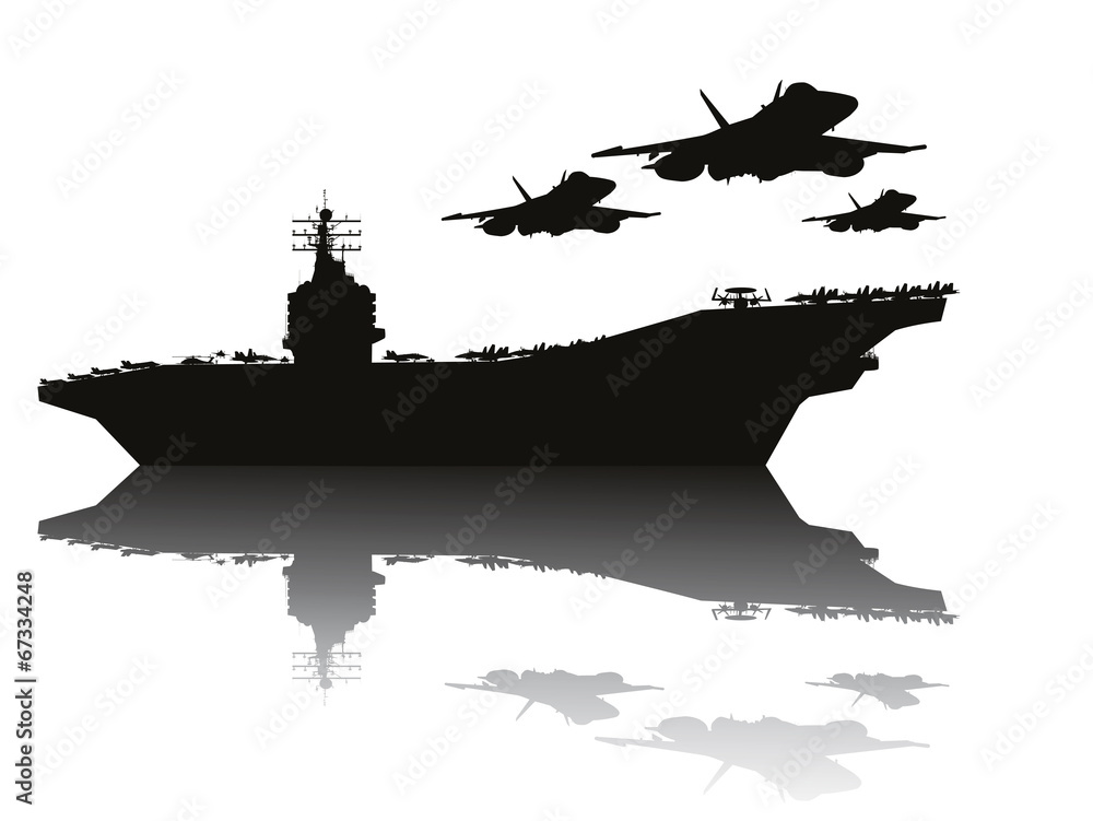 Photo  Aircraft carrier and flying aircrafts vector silhouettes.EPS10