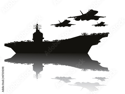 Obraz na plátne  Aircraft carrier and flying aircrafts vector silhouettes.EPS10