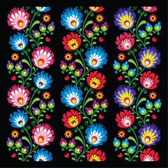 Seamless long Polish folk art pattern - wzory lowickie
