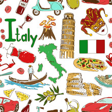 Sketch Italy Seamless Pattern