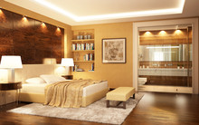 Bedroom With Bathroom In A Mod...