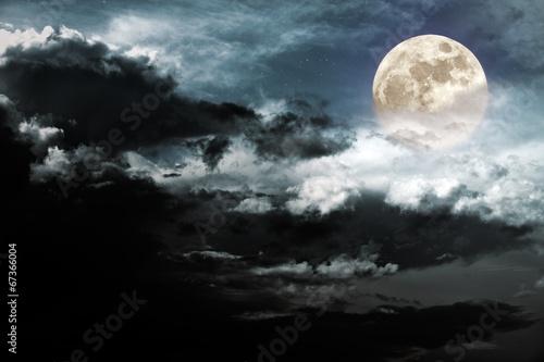 Poster Rivière de la forêt Cloudy full moon
