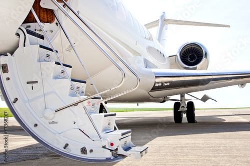 Stairs with jet engine on a private airplane - Bombardier Tapéta, Fotótapéta