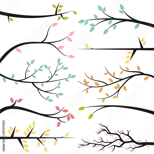 Leinwand Poster Vector Collection of Tree Branch Silhouettes