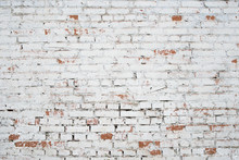 Cracked White Grunge Brick Wal...