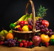 Mix of fresh fruits on wicker bascket