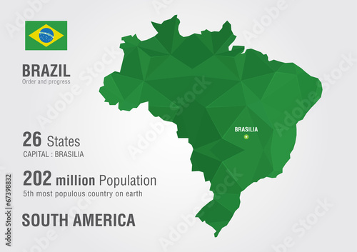 Fototapeta Brazil world map with a pixel diamond texture.