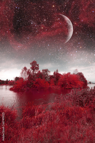 Poster Bordeaux mystical spring night. Elements of this image furnished by NASA