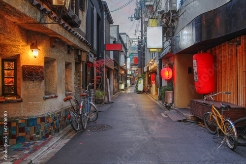 Canvas Prints Narrow alley Kyoto street, Japana