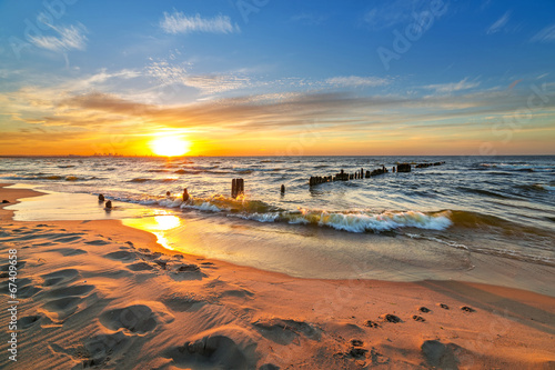 Fototapety, obrazy: Sunset on the beach at Baltic Sea in Poland