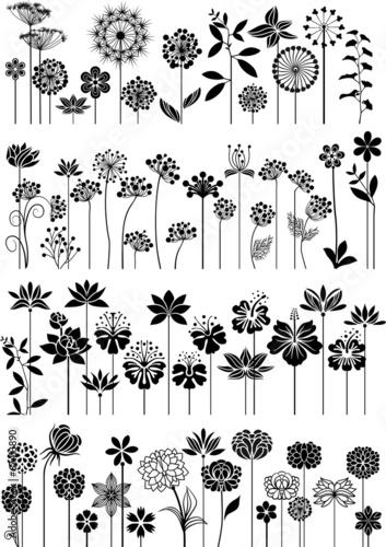 Plakat Zestaw ozdobnych kwiatów