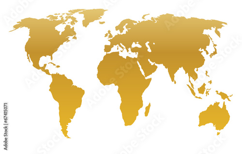 Türaufkleber Weltkarte gold world map