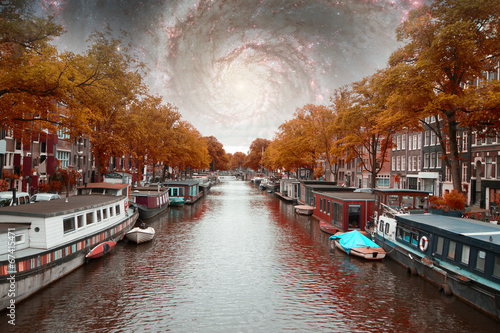 Photo  amsterdam autumn night. Elements of this image furnished by NASA