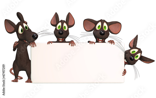 cartoon mice with a blank board