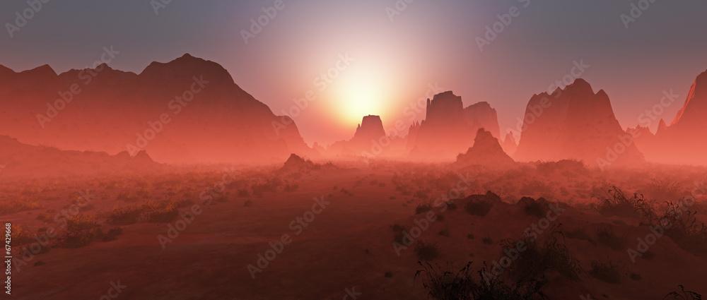 Fototapeta Red rocky desert landscape in the mist at sunset. Panoramic shot