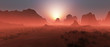 canvas print picture - Red rocky desert landscape in the mist at sunset. Panoramic shot