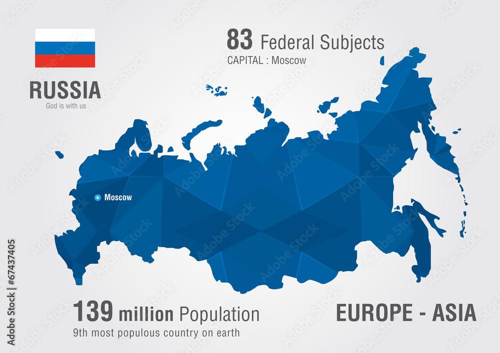 Fototapety, obrazy: Russia world map with a pixel diamond pattern.