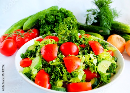 Fototapety, obrazy: салат из помидор и огурцов