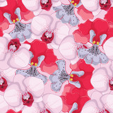 pink seamless background with pink and red orchids