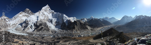 Fotomural Mount Everest, Lhotse and Nuptse from Kala Patthar - panorama