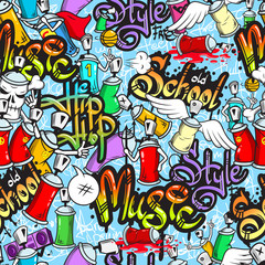 Fototapeta Do pokoju młodzieżowego Graffiti characters seamless pattern