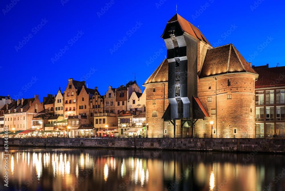 Fototapety, obrazy: Stare miasto na Motławie w Gdańsku w nocy