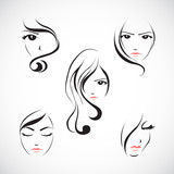 Icon set of beautiful woman's face with  long hair