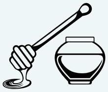 Wooden Honey Dipper And Honey Pot