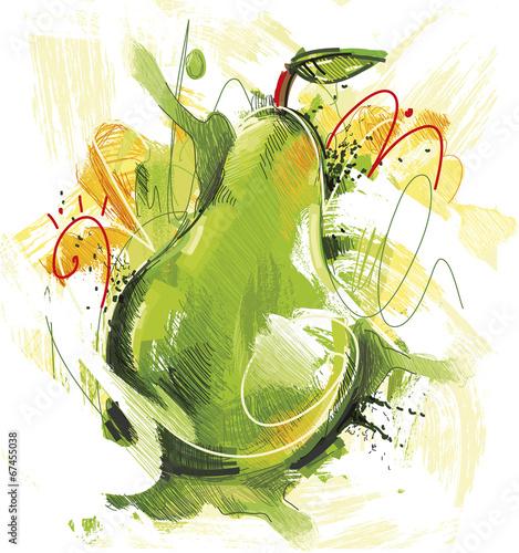 naszkicowana-zielona-gruszka