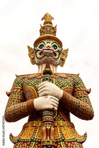 Fotografía  giant thai style statue on white background