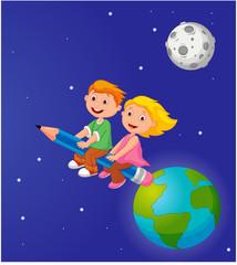 Fototapeta samoprzylepna Boy and girl riding a pencil leaving the earth