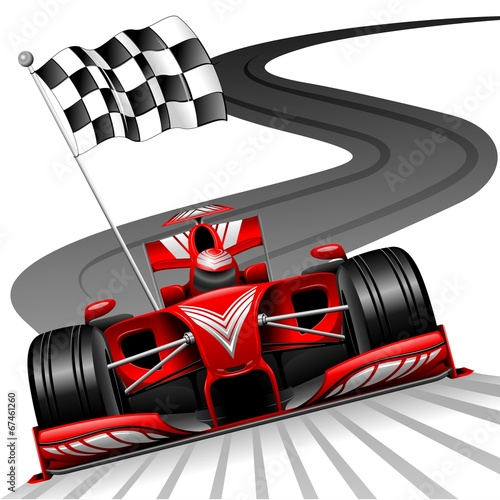 Photo sur Toile Draw Formula 1 Red Car on Race Track