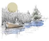 Boat on lake, river vector - 67465043