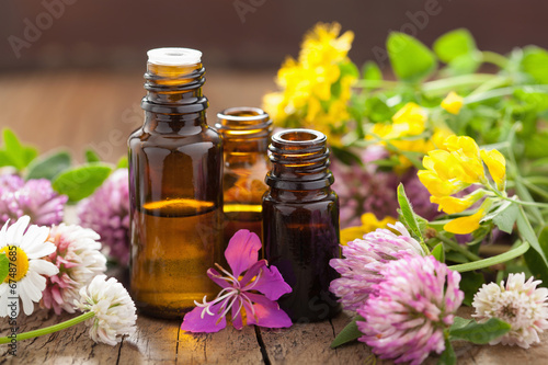 Photo  essential oils and medical flowers herbs