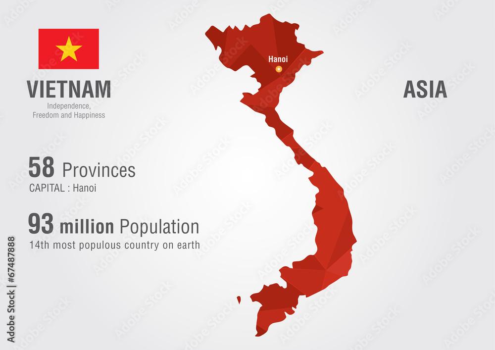 Vietnam world map with a pixel diamond texture. Foto, Poster ...