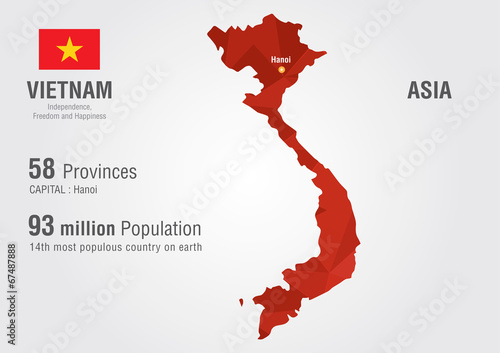 Photo  Vietnam world map with a pixel diamond texture.