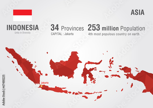 Indonesia world map with a pixel diamond texture. Wallpaper Mural