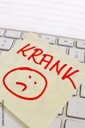 Stampa su Tela  Notiz auf Computer Tastatur: Krank