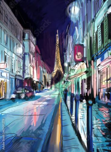 ulica-w-paryzu-wieza-eiffla-ilustracja