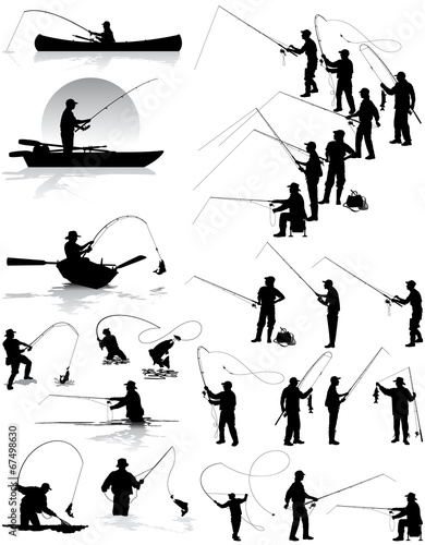 Fisherman vector silhouettes Wallpaper Mural