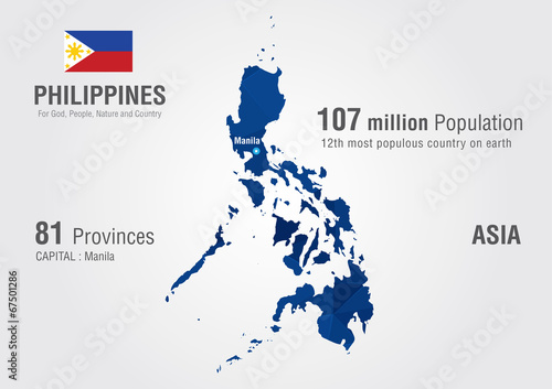 Philippines world map with a pixel diamond texture. – kaufen Sie ...