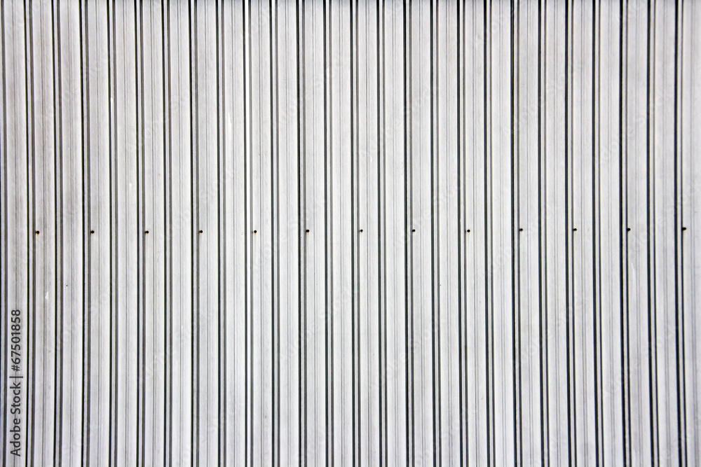 Fototapety, obrazy: Wide shot of silver corrugated metal wall