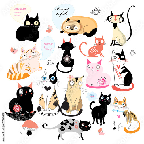 Cheerful set of cats Poster