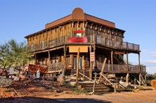 Old Wild West Building In A Ghost Town In Arizona